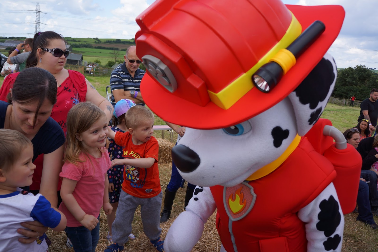 toddler looking at paw patrol marshall mascot