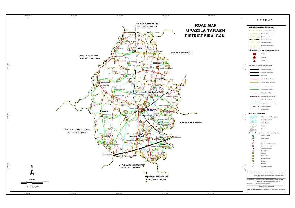 Tarash Upazila Road Map Sirajganj District Bangladesh