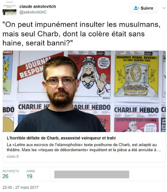 Tweet de Claude Askolovitch à propos de Charb