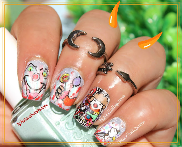 clown halloween nails