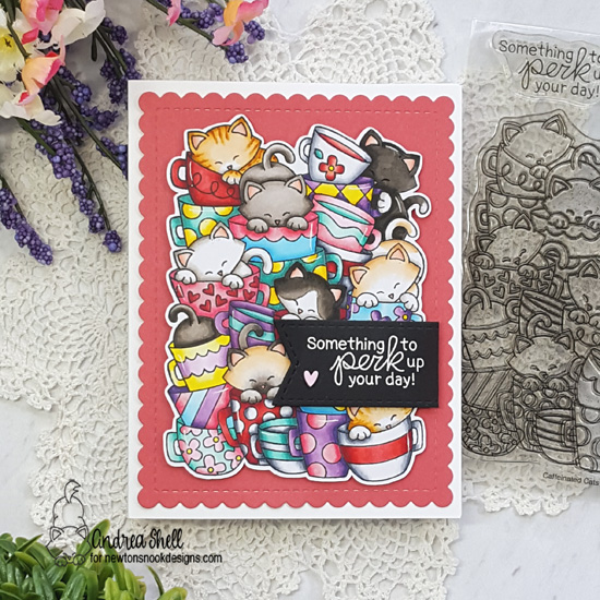 Cat and Coffee Card by Andrea Shell | Caffeinated Cats Stamp Set and Frames & Flags Die Set by Newton's Nook Designs #newtonsnook #handmade
