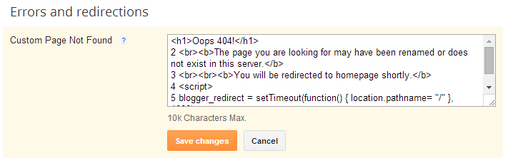 Google Blogger - 404 Page Error Redirection 2