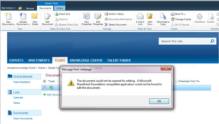 The document could not be opened for editing  A Microsoft