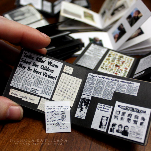 Serial killer miniature scrapbook - Nichola Battilana pixiehill.com