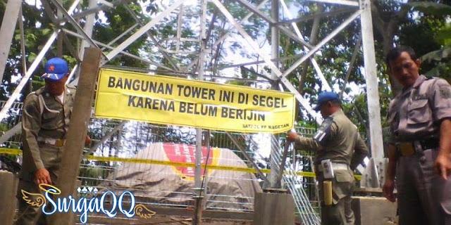 Tower operator seluler tak berizin di segel stpol PP