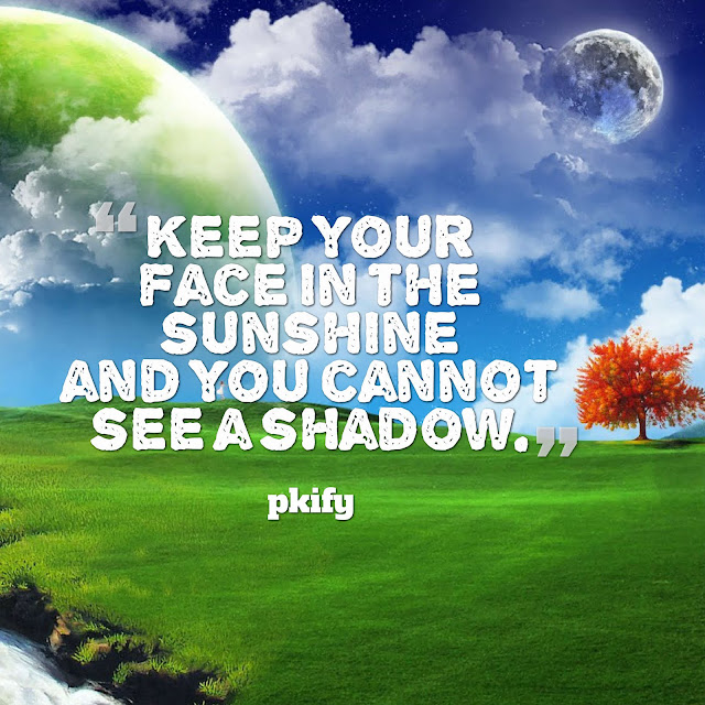 Keep Your Face in the Sunshine and You Cannot See a Shadow Positive Quotes