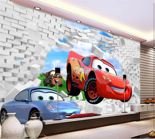 Disney Cars Wall Mural 3D Wallpaper Sticker Cars planes Brick Wall breaking through wall children room kids bedroom cartoon