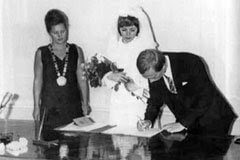 Vladimir Putin wedding. With his wife Lyudmila.