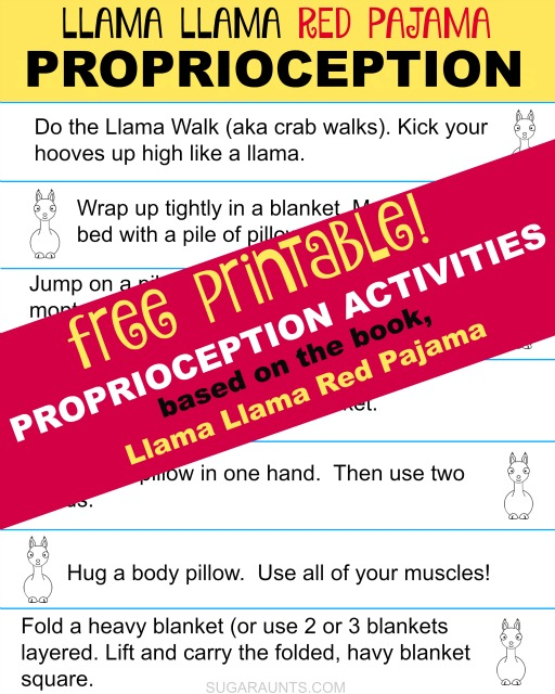 Try these proprioception activities based on the book, Llama Llama Red Pajama