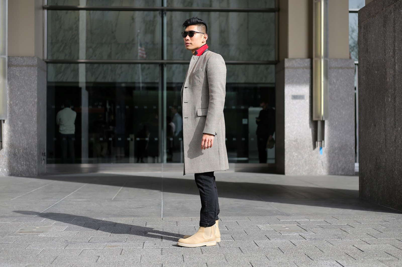 Levitate Style, menswear blogger, wearing Rag & Bone Dagger Topcoat and Striped Sweater, Commons Projects Chelsea Boots