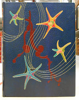 The cover of a book bound in blue leather, pressed with star-like designs in other colors.