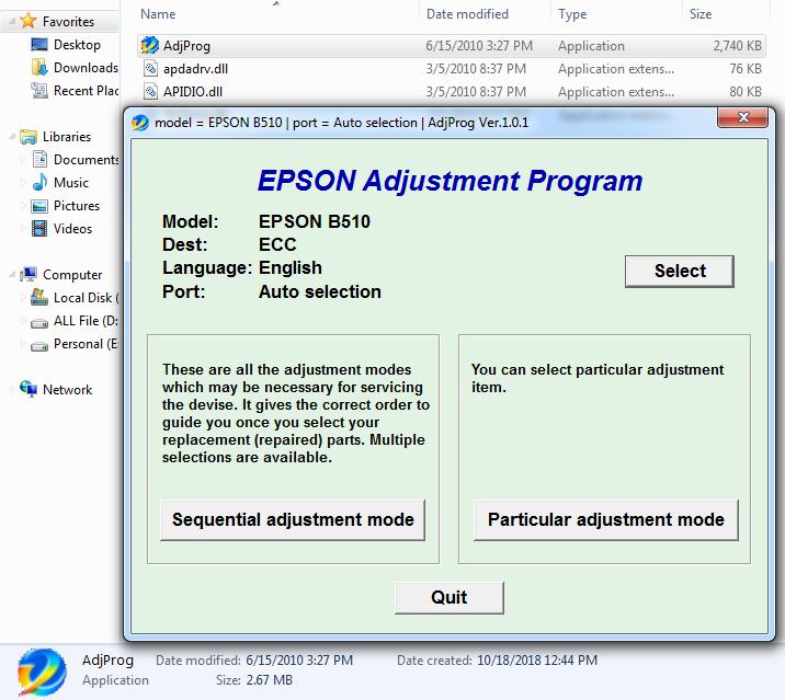 Epson B-510DN Resetter