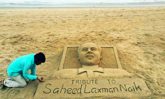 Laxman Naik Death Anniversary — Special Sand Art By Sudarsan Pattnaik at Puri Beach
