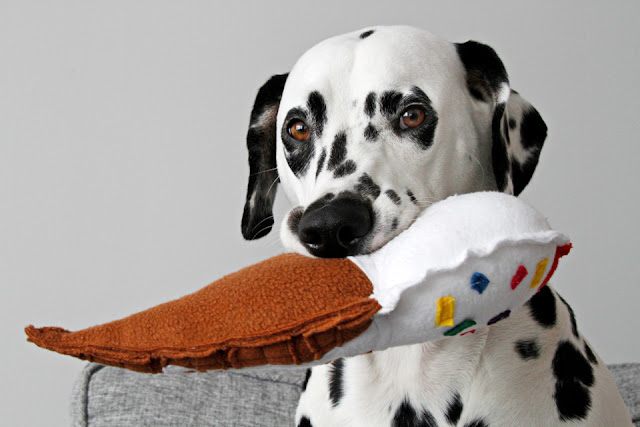 Dalmatian dog playing with homemade dog toy shaped like an ice cream cone