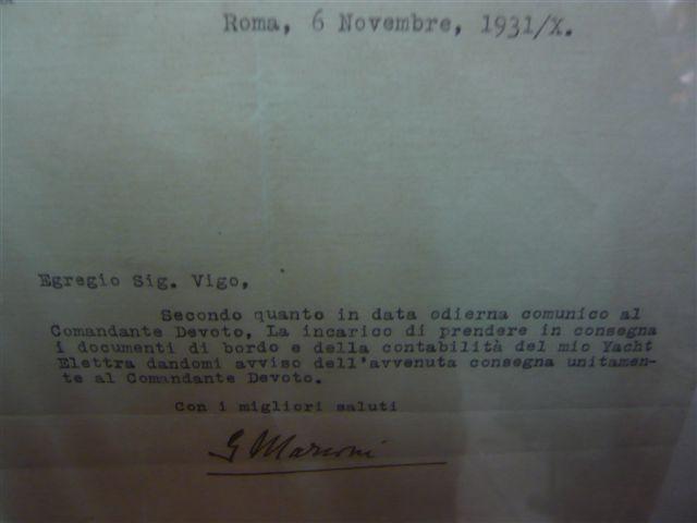 Lettera autografa di Guglielmo Marconi