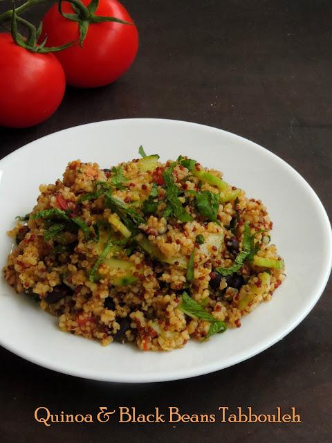 quinoa & black beans tabbouleh