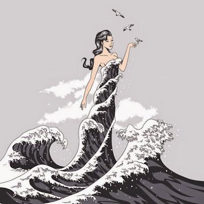 sirena en olas