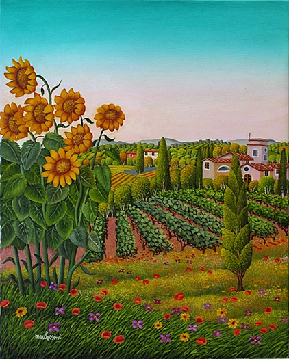 Il mondo di Mary Antony: Cesare Marchesini - Arte Naif - Paesaggio toscano