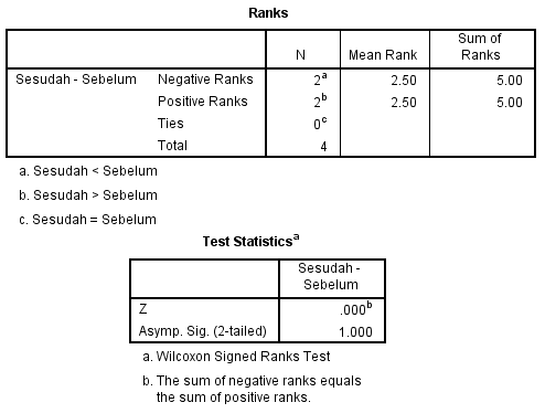 hasil output data setelah di uji dengan spss statistik dua sampel nonparametrik