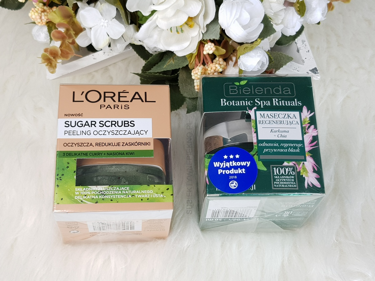 Co kupiłam na promocji na pielęgnację twarzy - LOreal Sugar Scrubs kiwi, maska Bielenda Botanic Spa Ritual