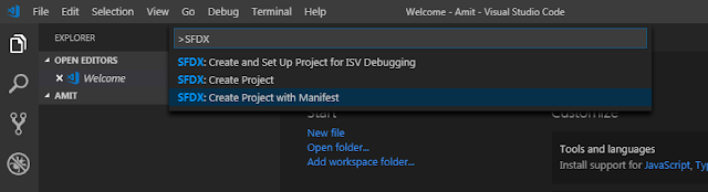 SFDX: Create Project with Manifest