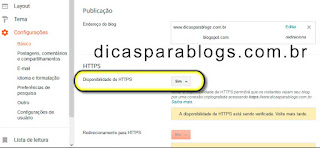 configuração do https no Blogger