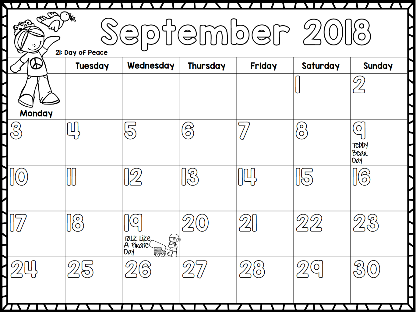 Month Calendar Kids : Monthly calendar for kids