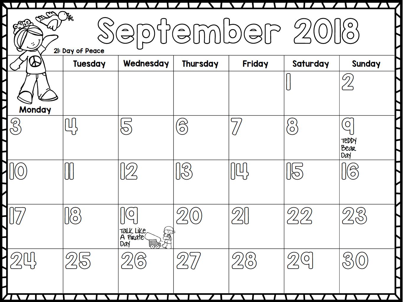 Monthly Calendar For Kids