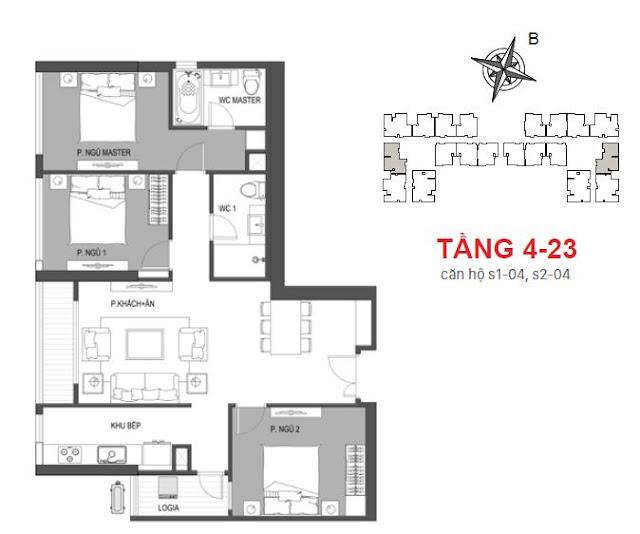 Thiết kế căn 04 tầng 4 - 23 tòa Sachi
