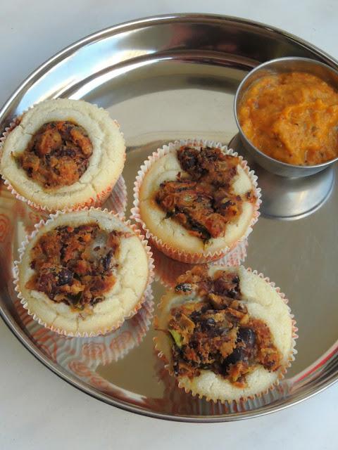 Idli Muffins with Rajma Masala, Desi Muffins