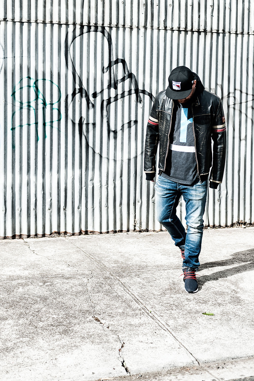 Energie 'Rod Knockers' Leather Biker Jacket / Denham The Jeanmaker Razor NISS Stone Wash Selvedge Jeans / JD Sports X Adidas Originals NMD XR1 Black Sneakers by Tom Cunningham