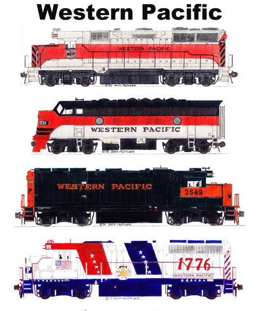 Western Pacific Locomotives Prepare to Lead Their Trains at Oakland
