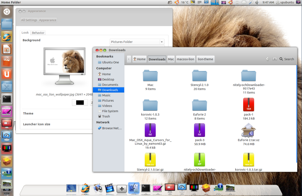 Lion Pack: Mac OS X Lion Theme, Icons, Cursors, and Wallpapers for