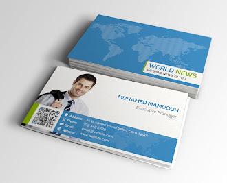 Mavi renkli arka tarafında dünya haritası, beyaz renkli ön yüzünde kartvizit sahibinin bir resmi olan kartvizit