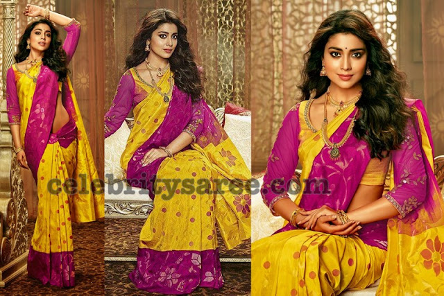 Shriya Saran Yellow Polka Dots Sari