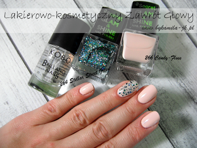 My Secret lakier Glam & Shine 264 Stellar Street Green 266 Candy-Floss Natura zielony brokatowy brokat pastelowy brzoskwinia rozbielony kremowy satynowy nabłyszczacz Kobo Brillance Nails