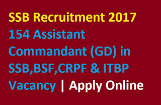 SSB Recruitment 2017 – 154 Assistant Commandant (GD) in SSB,BSF,CRPF & ITBP Vacancy | Apply Online