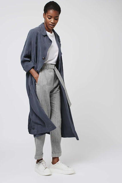 grey stripe paperbag trousers, grey paperbag trousers,