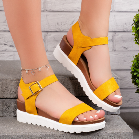 Sandale cu platforma dama galbene de vara
