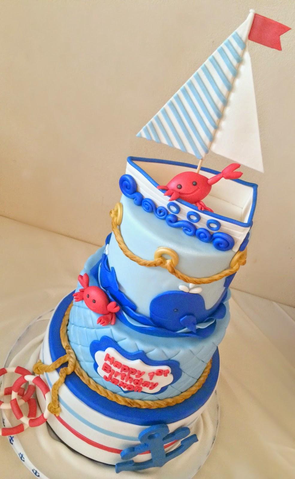 Pink Little Cake Nautical Mini Crab Theme Birthday Cake