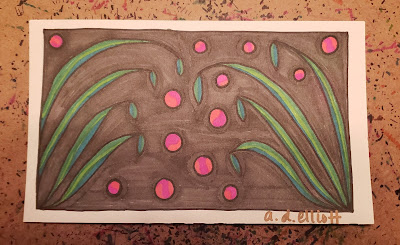 A pen and ink doodle meditation in grey, green, and pink and a blurb about the word wilt.