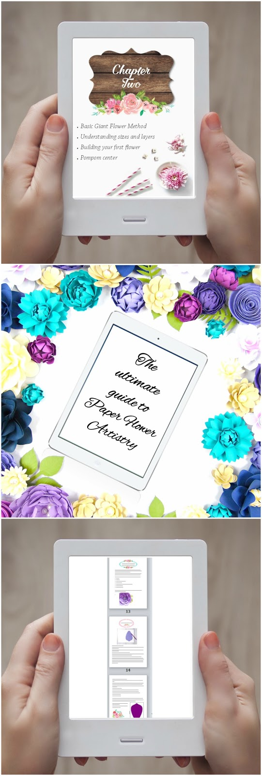 How to make paper flowers step by step. Paper flower ebook. Flower templates and tutorials.