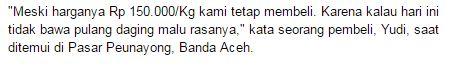 Dua Hari Jelang Puasa, Harga Daging Sapi di Aceh Rp 170.000/Kg