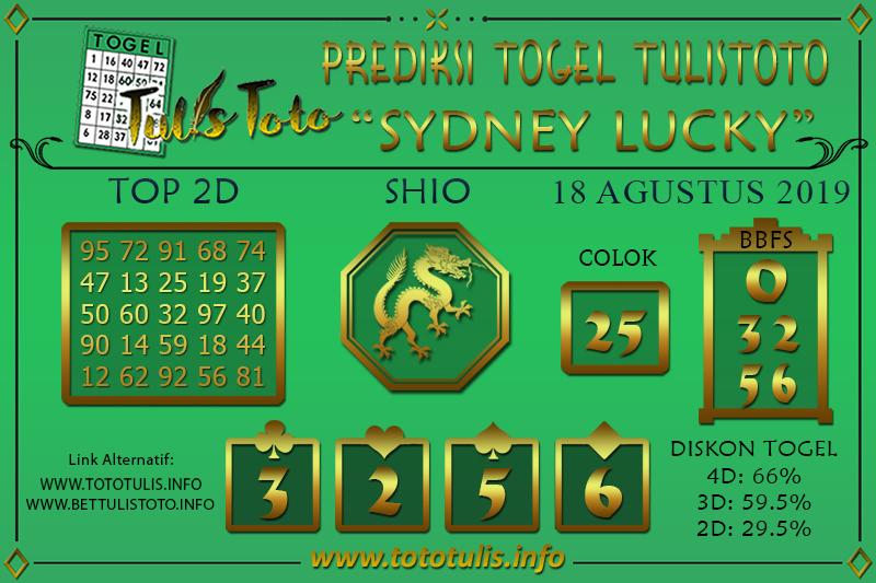 Prediksi Togel SYDNEY LUCKY TODAY TULISTOTO 18 AGUSTUS 2019