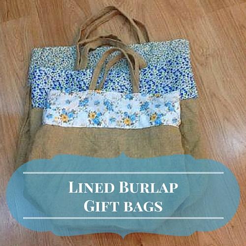 Lined Burlap Gift Bags Diy