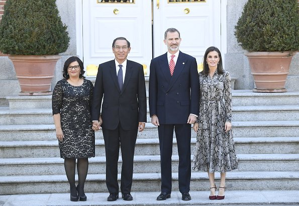 Queen Letizia wore Massimo Dutti snakeskin print dress with tie belt