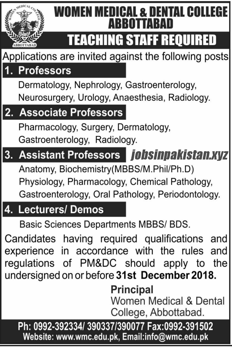 Advertisement for Women Medical & Dental College Jobs November 2018
