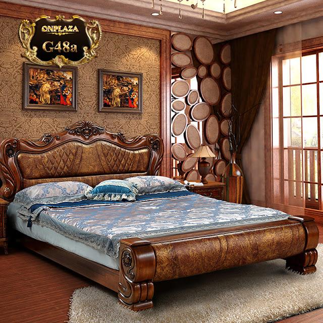 Giường ngủ bọc da cao cấp khắc gỗ cổ điển sang trọng