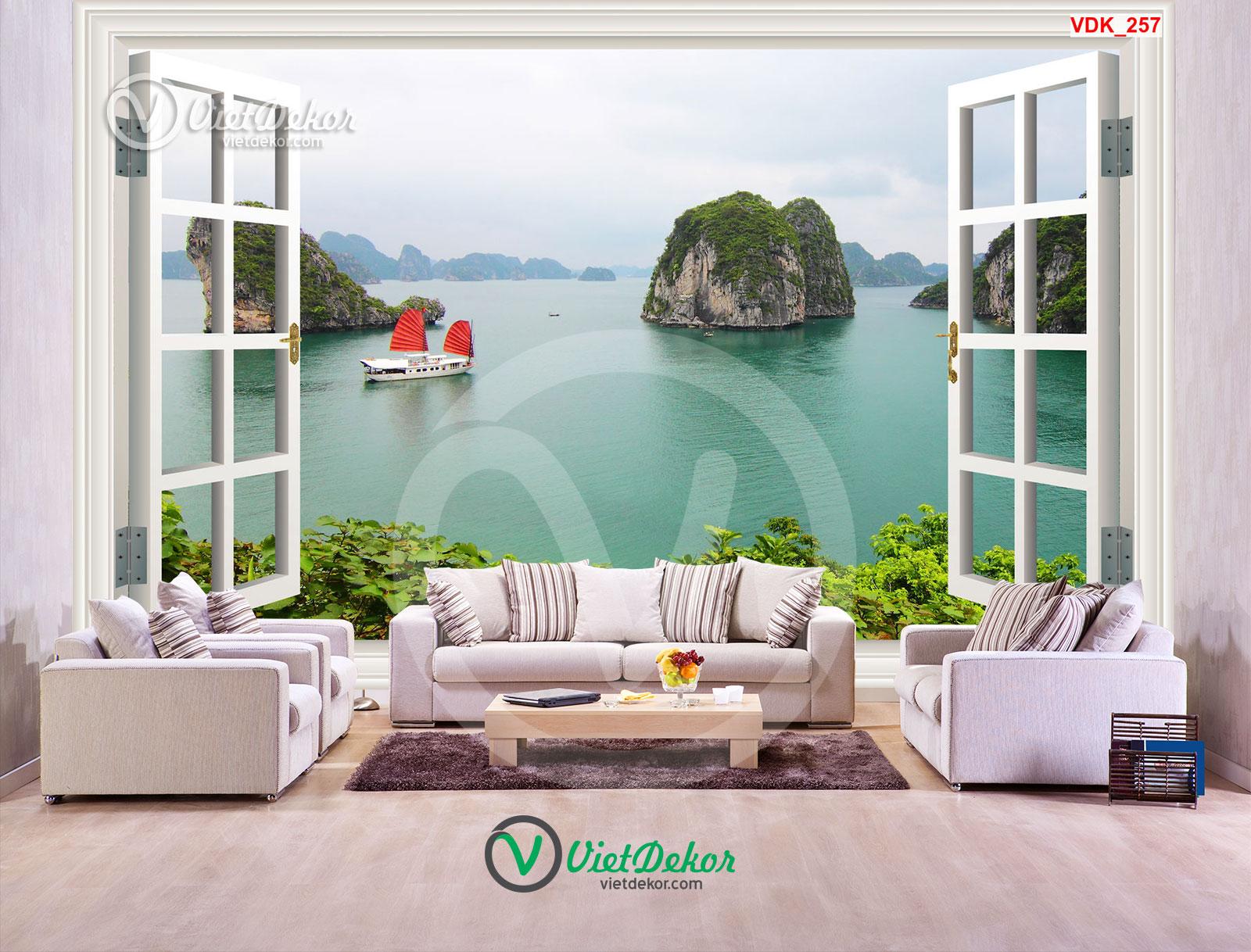 Tranh dán tường 3d cửa sổ phong cảnh biển và núi