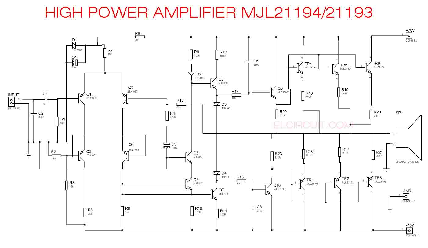 high power audio amplifier circuit